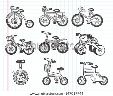 doodle bicycle icons - stock vector