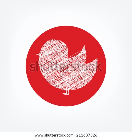 Doodle bird icon in red circle on white background. Social network twitter icon. - stock vector