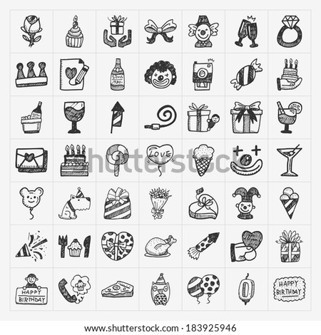 doodle birthday party icons - stock vector