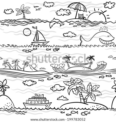 Doodle black and white beach seamless pattern - stock vector