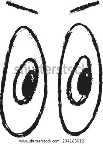 doodle Black And White Cute Cartoon Eyes
