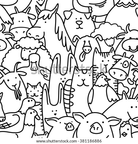 Doodle black and white seamless pattern with farm animals - stock vector