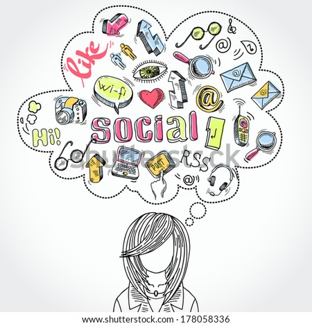 Doodle blog social media communication dreams and thoughts with woman silhouette vector illustration