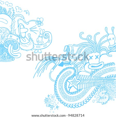 Doodle Blue - stock vector