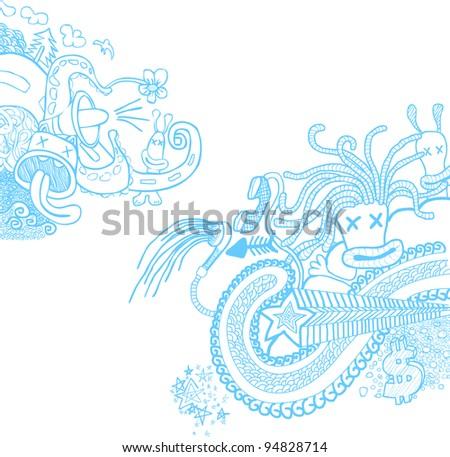 Doodle Blue - stock vector