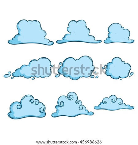 Doodle blue clouds set on white background - stock vector