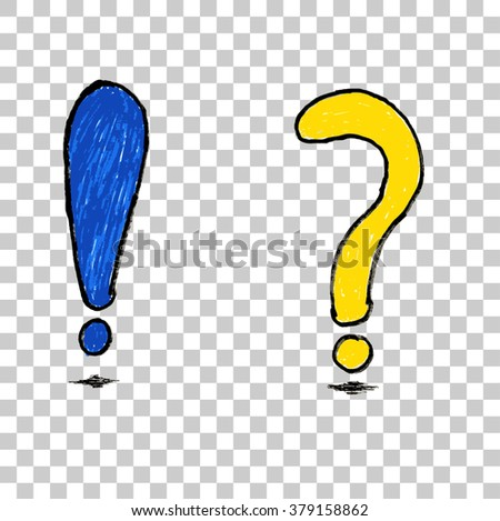 doodle Blue Exclamation and Yellow Question Mark