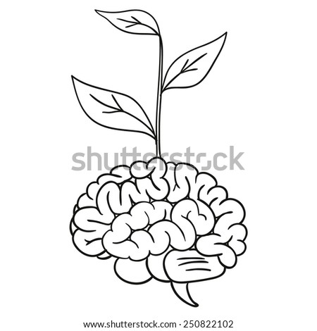 doodle brain tree. vector illustration - stock vector