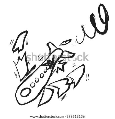 doodle broken plane, vector icon illustration - stock vector
