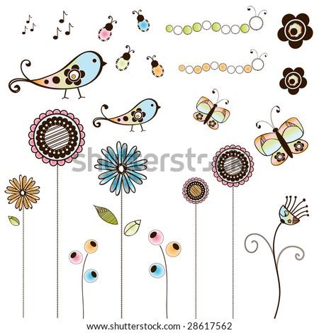 Doodle Bugs Flowers and Birds - stock vector
