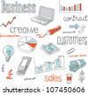 Doodle Business icons and words - stock photo
