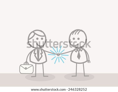 Doodle : Businessman Hand Shake - stock vector