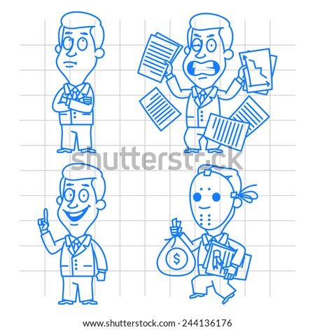 Doodle businessman idea and anger - stock vector