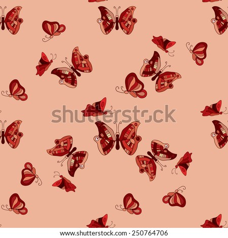Doodle butterflies seamless pattern. Vector illustration - stock vector