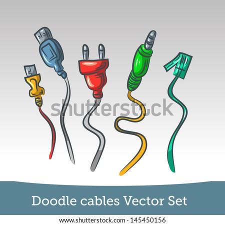 Doodle cable set - stock vector