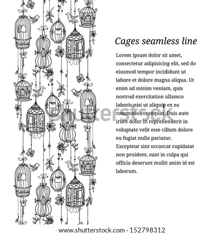 Doodle cages with birds seamless line. - stock vector