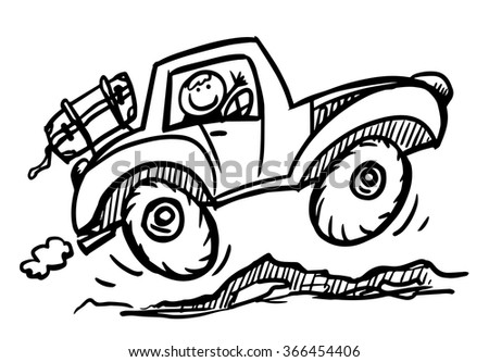 Doodle car travel. Car jumping on the stones. Hand drawn sketch. Vector illustration. - stock vector
