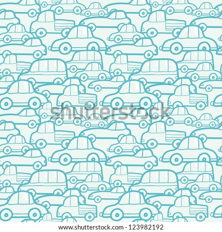 Doodle cars seamless pattern background - stock vector