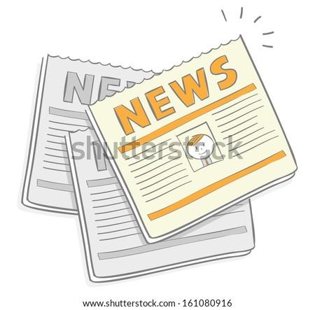 Doodle cartoons of newspapers - stock vector