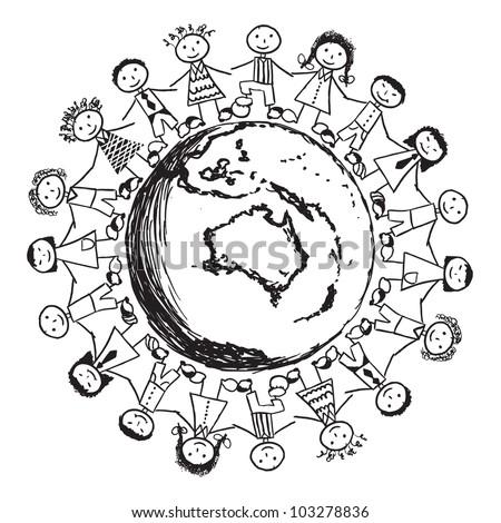 Doodle Children around the World - Australia - stock vector