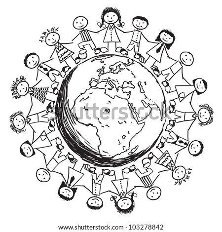 Doodle Children around the World - Europe - stock vector