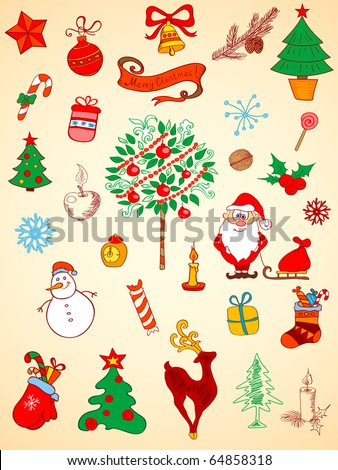 doodle Christmas  elements for design - stock vector