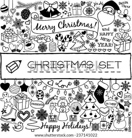 Doodle Christmas season icons and vintage graphic elements. Santa Claus,  reindeer, snow man, cute Christmas decorations, presents, snow flakes, stars etc. Scrapbooking and infographics. - stock vector