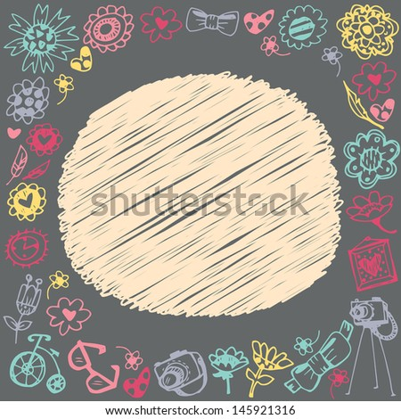 Doodle circle frame. Gift card and sample text. Dark background. Template for design cartoon greeting card, wedding invitation, Valentines day background - stock vector
