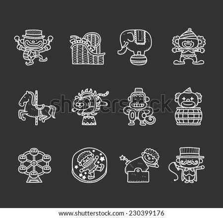 Doodle circus  icon set - stock vector