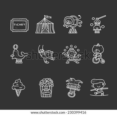 Doodle circus  icon set - stock vector