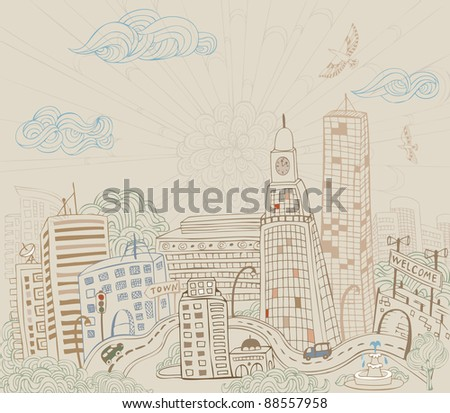 Doodle city - stock vector