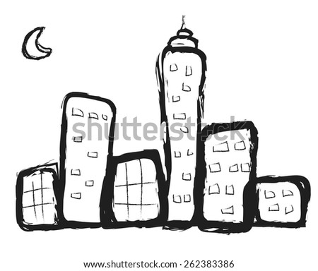 doodle city buildings, vector illustration - stock vector