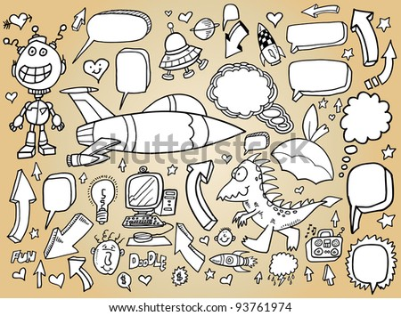 Doodle Clip art Design Elements Mega Vector Illustration speech bubble Set - stock vector