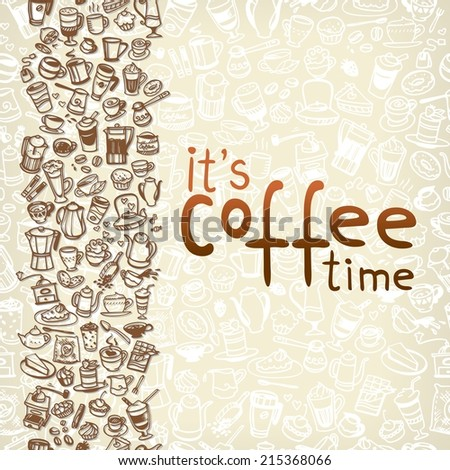 doodle coffee and tea seamless background. Vector illustration - stock vector