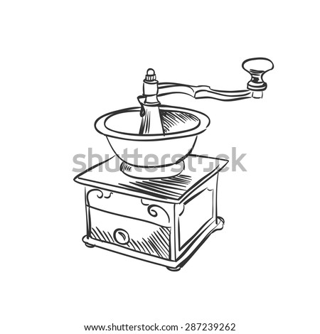 doodle coffee mill. Hand drawn illustration. excellent vector illustration, EPS 10 - stock vector