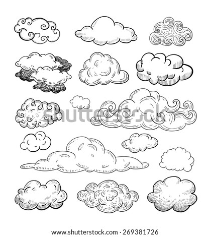 Doodle Collection of Hand Drawn Vector Clouds - stock vector