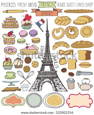 Doodle colored vector.French Bakery,bread and pastries  icons set with Eiffel tower.Vintage elements for logo,label,menu,cafe shop. - stock vector