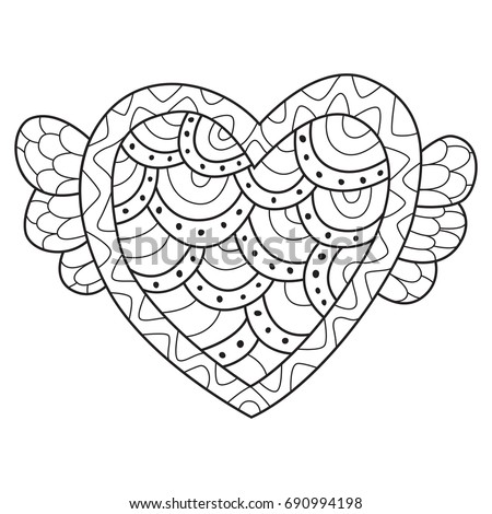 Doodle Coloring Book Page Funny Heart Stock Vector 690994198 ...