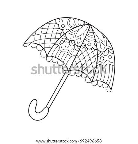 Doodle Coloring Book Page Funny Umbrella Anti Stress For Adults And Children