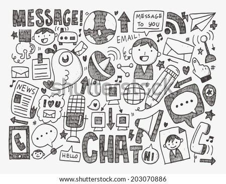 doodle communication background - stock vector