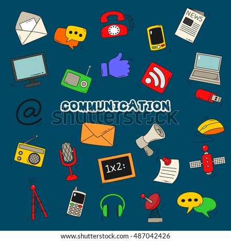 Doodle communication background vector illustration.