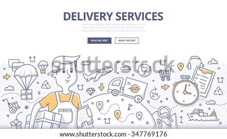 Doodle concept of delivery services, shipping goods by different transport. Modern line style illustration for web banners, hero images, printed materials - stock vector