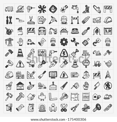 doodle construction icons - stock vector