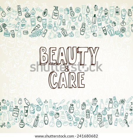 doodle cosmetics and self-care background, vector illustration - stock vector