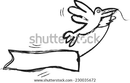 doodle crow and banner - stock vector