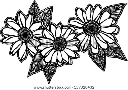 Doodle Daisies - stock vector