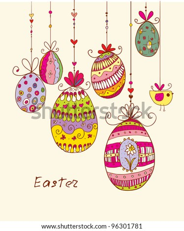 Doodle decorative colorful eggs for Easter. - stock vector
