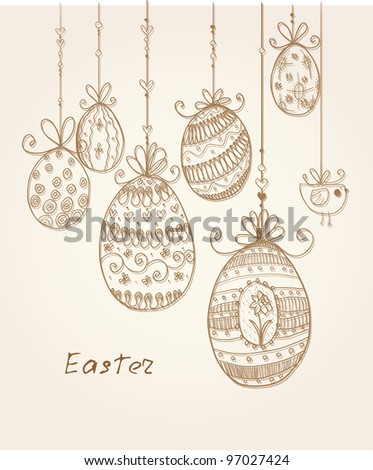 Doodle decorative eggs for Easter in beige and brown colors.
