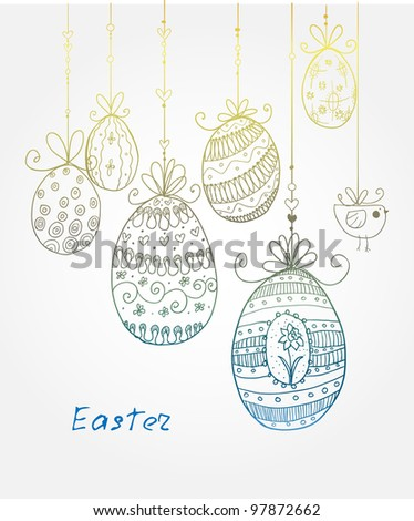 Doodle decorative eggs for Easter. May be used as an invitation or a foliage for different printings.