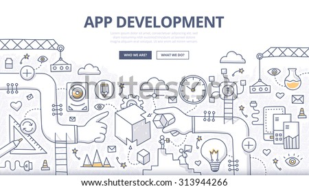 Doodle design concept of mobile application development, coding, creating digital product, managing process of app development. Line style illustration for web banners, hero images, printed materials - stock vector